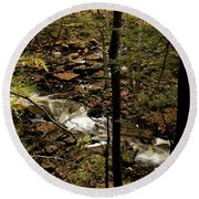 Over The River And Thru The Wood Round Beach Towel
