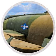 Over The Shoulder F-100 Round Beach Towel