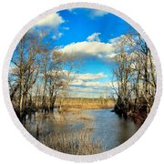 Over The Waters Round Beach Towel