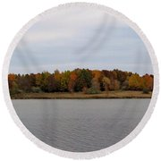 Over View Of Some Fall Colors For The Lake Round Beach Towel