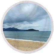 Overcast Beach Round Beach Towel