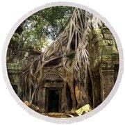 Overgrown Jungle Temple Tree  Round Beach Towel