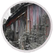 Overgrown Shed B/w Round Beach Towel
