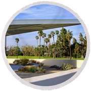 Overhang Palm Springs Tram Station Round Beach Towel