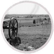 Overlooking Bilgerville Road Farm   Round Beach Towel