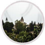 Overlooking The Alhambra On A Rainy Day - Granada - Spain Round Beach Towel