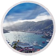 Overlooking The Bay Round Beach Towel