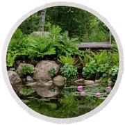 Overlooking The Lily Pond Round Beach Towel