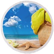 Overlooking The Ocean Round Beach Towel by Amanda Elwell