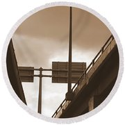 Overpass In Sepia Round Beach Towel
