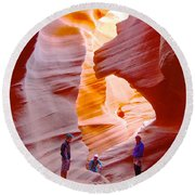 Overwhelmed In Lower Antelope Canyon-az Round Beach Towel