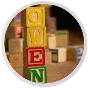 Owen - Alphabet Blocks Round Beach Towel