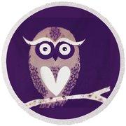 Owl 1 Round Beach Towel