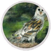 Owl Series - Owl 3 Round Beach Towel
