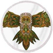 Owl Yellow Round Beach Towel