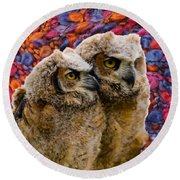 Owlets In Color Round Beach Towel