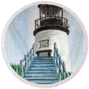 Owls Head Up To The Light Round Beach Towel