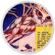 Owls In The Trees Round Beach Towel