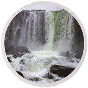 Oxarafoss Waterfall Round Beach Towel