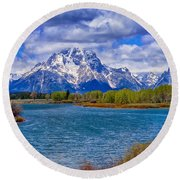 Oxbow Bend In Spring Round Beach Towel