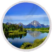 Oxbow Bend Round Beach Towel by Robert Bales