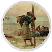 Oyster Catching Round Beach Towel