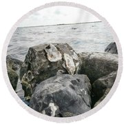 Oysters On The Rocks Round Beach Towel