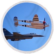 P-38 And Jet Round Beach Towel