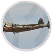 P-38l Lighting - Thoughts Of Midnight Round Beach Towel
