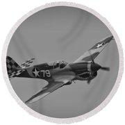 P-40 Warhawk Bw Round Beach Towel