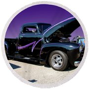 P P - Purple Pickup Round Beach Towel