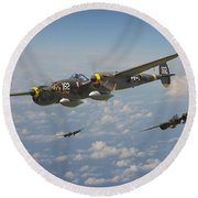 P38 Lightning - Pacific Patrol Round Beach Towel