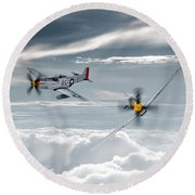 P51 Mustang - Old Crow Round Beach Towel