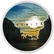Pacific Ave Round Beach Towel