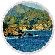 Pacific Coast Panorama Round Beach Towel by Benjamin Yeager