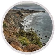 Pacific Coast Storm Clouds Round Beach Towel