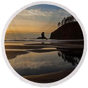 Pacific Coast Sunset Round Beach Towel