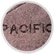Pacific Concrete Street Sign Round Beach Towel