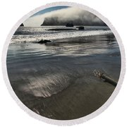 Pacific Fog Round Beach Towel by Adam Jewell