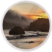 Pacific Fog And Fire Round Beach Towel by Adam Jewell