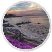 Sunset In Pacific Grove Round Beach Towel