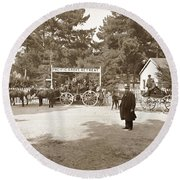 Pacific Grove Retreat Gate On Lighthouse At Grand Aves  With  O. J. Johnson Circa 1880 Round Beach Towel