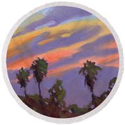 Pacific Sunset 1 Round Beach Towel