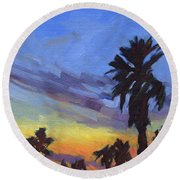 Pacific Sunset 2 Round Beach Towel