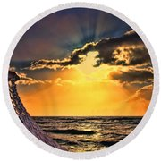 Pacific Sunset By Diana Sainz Round Beach Towel