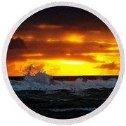 Pacific Sunset Drama Round Beach Towel