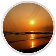Pacific Sunset Reflection Round Beach Towel