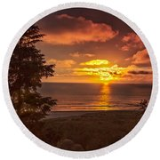 Pacific Sunset Round Beach Towel by Robert Bales