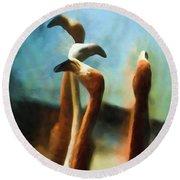 Pack Of Pelicans Round Beach Towel
