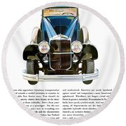 Packard Automobile - Vintage Poster Round Beach Towel